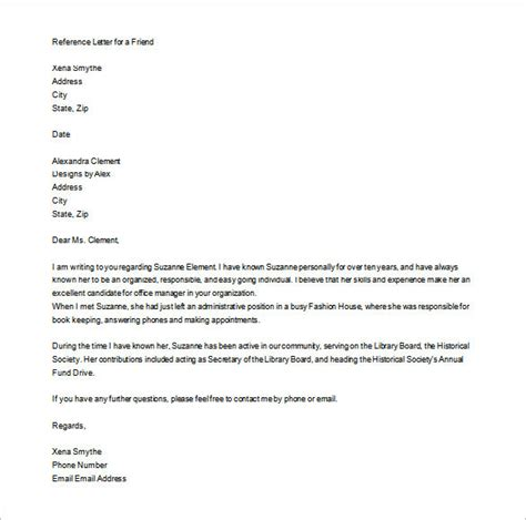 letter for recommendation personal letter of recommendation 16 free word excel