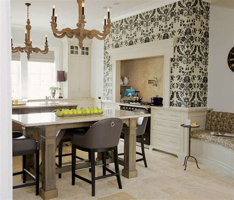 Wallpaper Ideas For Kitchen by White Kitchen Cabinets And Modern Wallpaper Ideas For