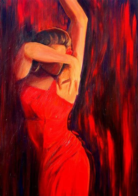 woman  red dress red  black background valentine