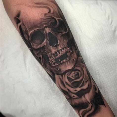 skull  rose completed today    forearm