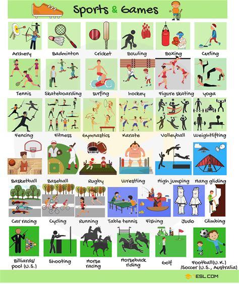 list  sports names  sports  games  english