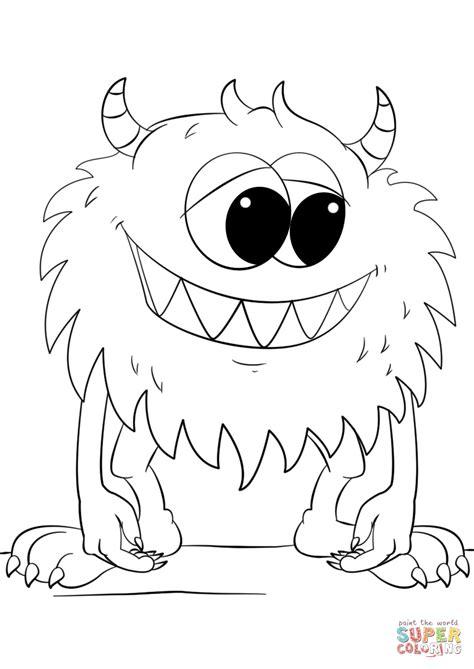 cute cartoon monster coloring page  printable