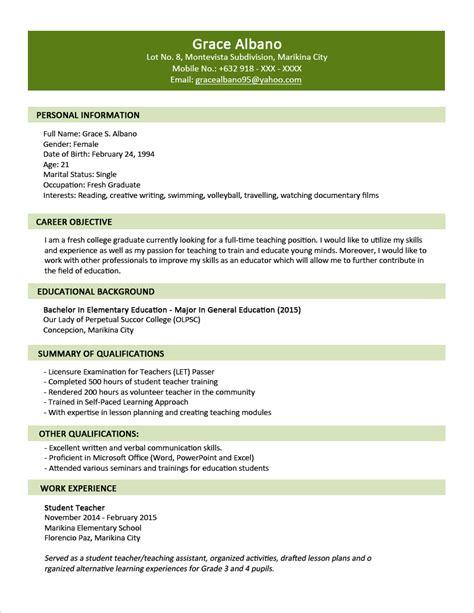sample resume format resume format  freshers
