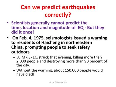 We Predict The Key Looks For: Can We Predict Earthquakes?