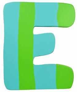 Green & Blue Stripe Wall Letter - E - Modern - Wall