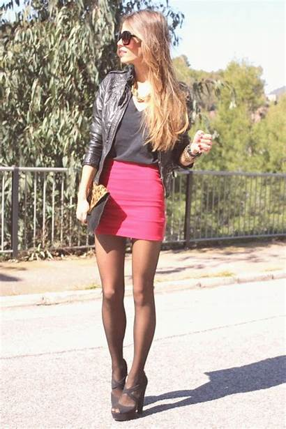 Leather Outfit Jacket Skirts Photobucket Chanes Tights