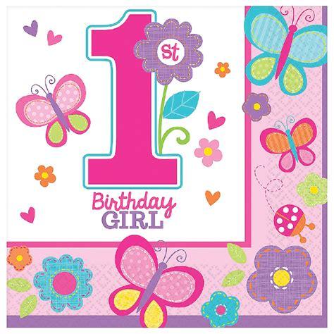 Sweet 1st Birthday Girl Napkins  1st Birthday Partyware