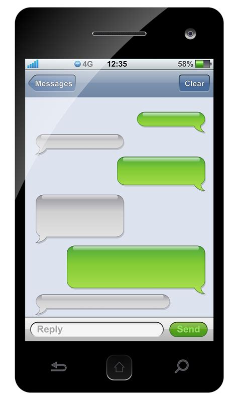 Sms Template Iphone by Green Iphone Clipart