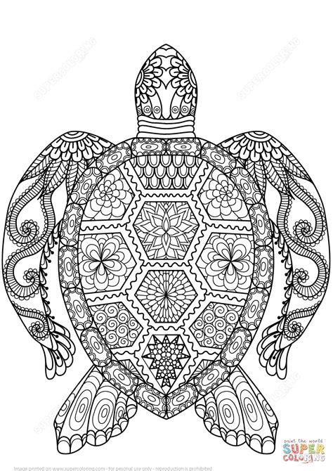 turtle zentangle coloring page  printable coloring pages