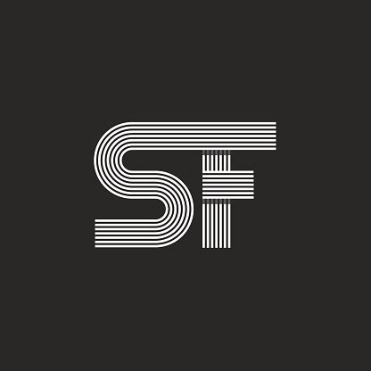 letters sf logo monogram capital  linked  overlapping style stock illustration