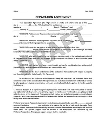 separation agreement business template