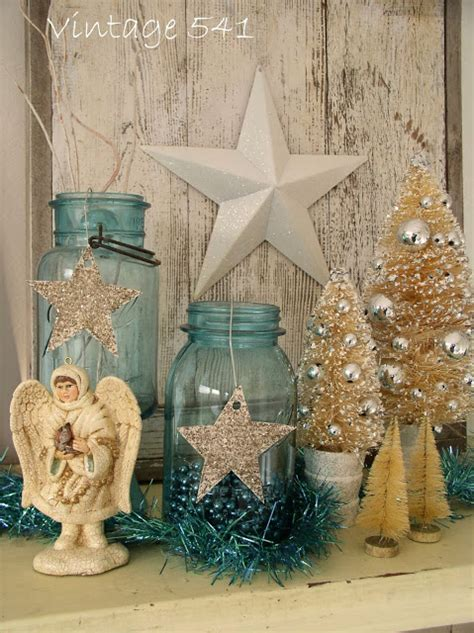 vintage 541 aqua and white christmas decor