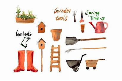Gardening Garden Tool Watercolor Clip Objects Tools