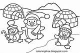 Coloring Penguin Printable Igloo Snow Ice Activities Drawing Craft Playing Frozen Cap Sheets Cartoon Clipart Birds Children Comic Sleet Antarctic sketch template