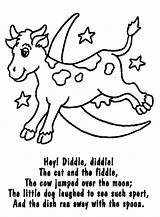 Nursery Rhyme Diddle Coloring Hey Rhymes Colouring Sheets Preschool Miss Muffet Fiddle Cat Printable Template Activities Fairy Lyrics Crafts Tale sketch template