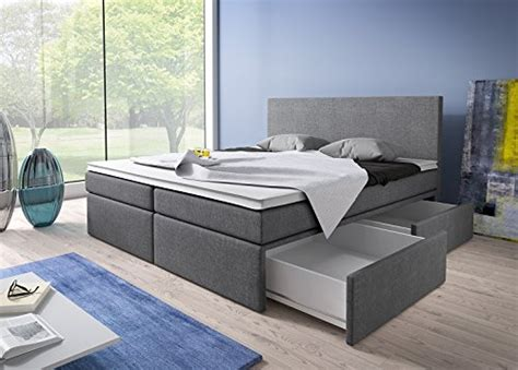 boxspringbett 180x200 mit bettkasten grau stoff hotelbett polsterbett matratze modell roma