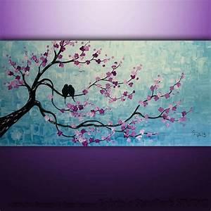 Abstract Modern Landscape Tree Birds Art Painting ...