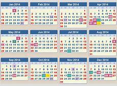 2014 Calendar south African Public Holidays Calendar