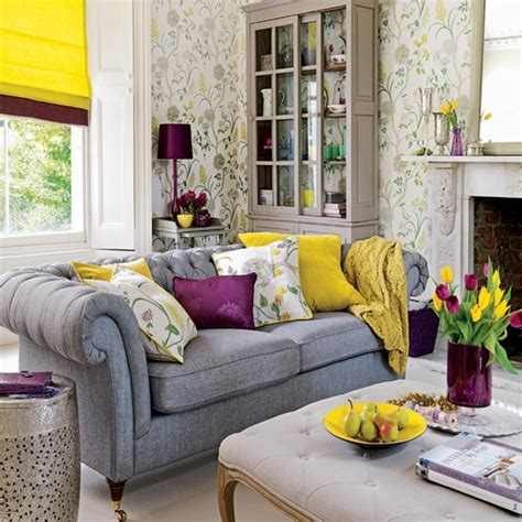 Yellow Grey And Purple Living Room by Living Room Wallpaper Housetohome Co Uk