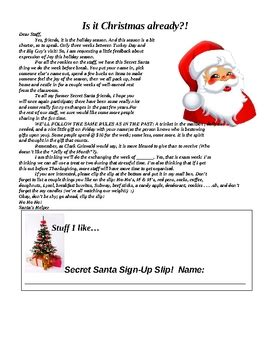 secret santa letter template secret santa letter church secret santa letter for staff by casey south teachers 68441