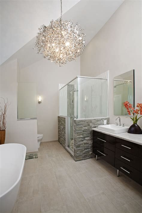 Really Small Bathroom Ideas by The Vaulted Ceiling And Contemporary Chandelier Really