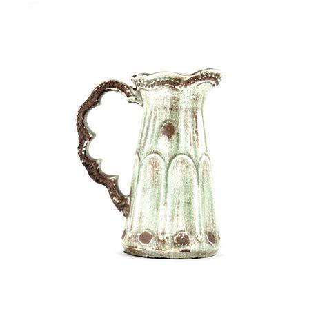 large sage pottery pitcher decorative distressed ceramic