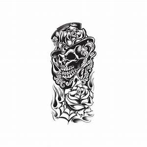 Dessin Tete De Mort Avec Rose : tatouage temporaire t te de mort et roses monochrome ~ Melissatoandfro.com Idées de Décoration
