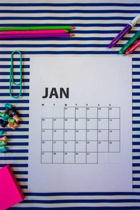 printable  calendars sunday  monday start