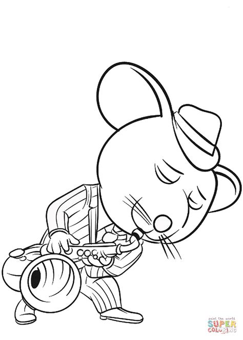 mike playing saxophone coloring page  printable coloring pages
