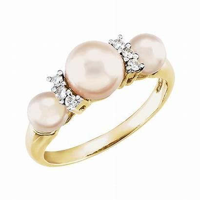 Pearl Ring Diamond Three Rings Graciousrose Akoya