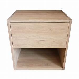 Cube Bois Rangement : table de chevet cube de rangement avec tiroir en bois de ~ Edinachiropracticcenter.com Idées de Décoration