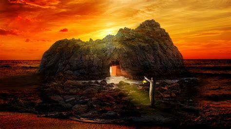 Download wallpaper 1920x1080 rock cave man lonely sea