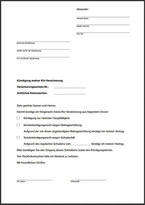 vorlage kuendigung versicherung kuendigung vorlage fwptccom