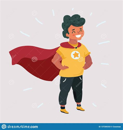 Super Boy In Red Character Vector Illustration ...