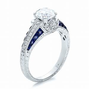 Diamond and blue sapphire engagement ring 100390 for Blue sapphire and diamond wedding rings