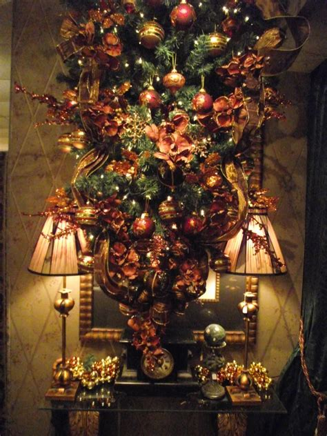 upside down christmas tree decorated in brown copper and