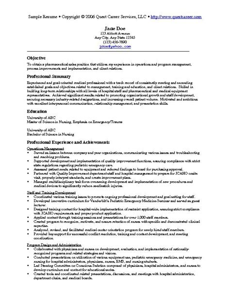 5 Resume Sles by Sle Resume Exle 5 Pharmaceutical Sales Resume