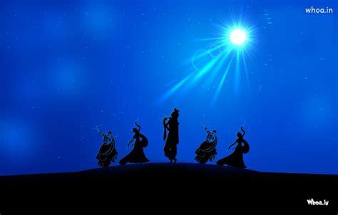 lord krishna rass leela  night  blue background hd