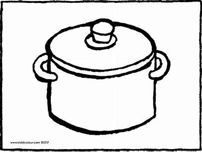 Pot Coloring Cooking Pages Drawing Colouring Pots
