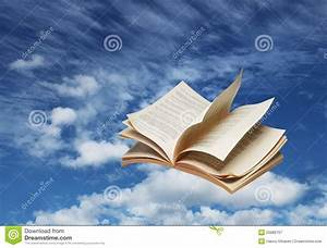 Open Book Flying On Blue Sky Royalty Free Stock ...