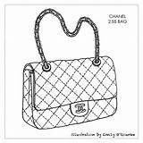 Purse Bag Handbag Chanel Drawing Handbags Bags Designer Sketches Coloring Pages Purses Sketch Drawings Cad Disegno Iconic Illustration Outlines Borsa sketch template