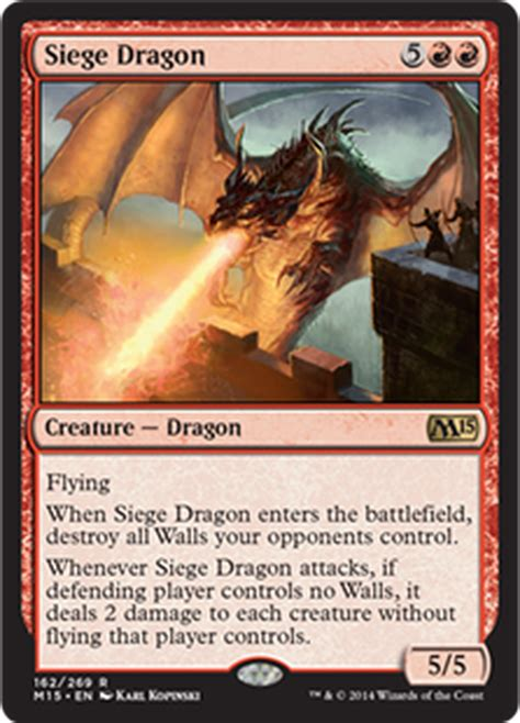 Free shipping on orders over $25 shipped by amazon. Magic The Gathering Magic 2015 Single Card Rare Siege Dragon 162 Foil - ToyWiz