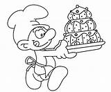 Coloring Smurf Smurfs Baker Pages Bakery Mushroom Printable Drawing Smurfette Getcolorings Random Getdrawings Comments sketch template