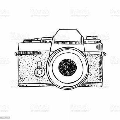 Camera Drawing Outline Sketch Vector Drawn Illustration