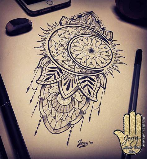 sun  moon tattoo design idea mendi mandala drawing