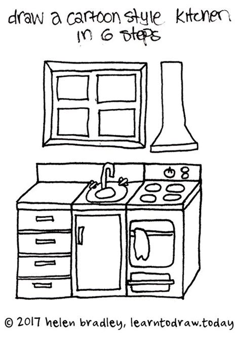 draw  cartoon kitchen   steps drawing