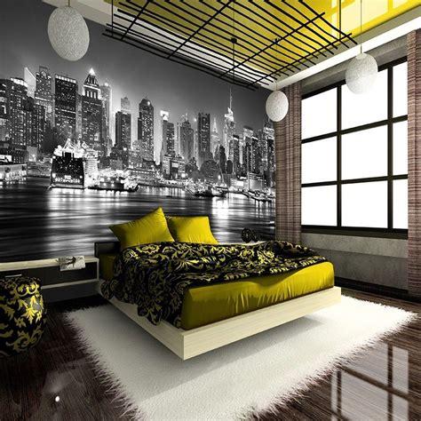 york city  night skyline view black white