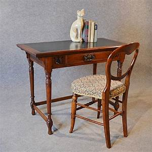 Antique Desk Leather Top English Oak Writing Study Table