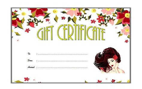 Free Printable Hair Salon Gift Certificate Template by Salon Gift Certificate Templates The Best Template