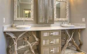 le bois flotte en deco 52 idees originales With salle de bain design avec bois flotté décoration murale